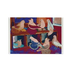 Impressionist Swallows Rectangle Magnet (100 pack)