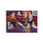 Impressionist Swallows Rectangle Magnet