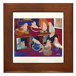 Impressionist Swallows Framed Tile