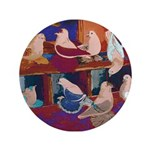 "Impressionist Swallows 3.5"" Button"