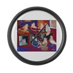 Impressionist Swallows Large Wall Clock