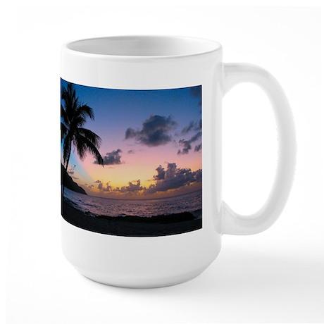 Palm Tree in the Sand Large Mug