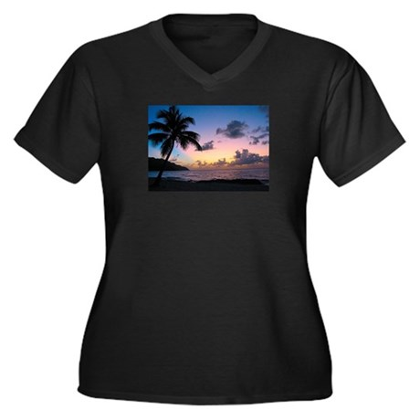 Palm Tree in the Sand Women's Plus Size V-Neck Dar