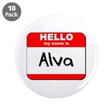 "Hello my name is Alva 3.5"" Button (10 pack)"