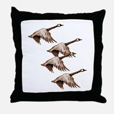 Canada Geese Flying Throw Pillow