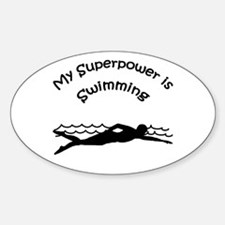 My Superpower is Swimming Oval Decal