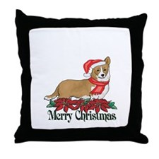 Poinsettia Welsh Corgi Throw Pillow