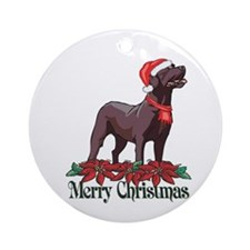 Poinsettia Chocolate Lab Ornament (Round)