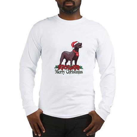 Poinsettia Chocolate Lab Long Sleeve T-Shirt