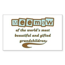 Meemaw of Gifted Grandchildren Rectangle Decal