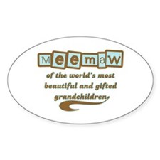 Meemaw of Gifted Grandchildren Oval Decal