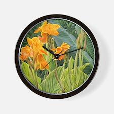 Orange Canna Flowers Wall Clock