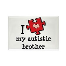 I Love My Autistic Brother Rectangle Magnet (10 pa