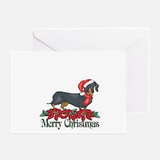 Poinsettia Dachshund Greeting Cards (Pk of 10)