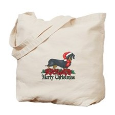 Poinsettia Dachshund Tote Bag