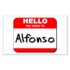 Hello my name is Alfonso Rectangle Decal