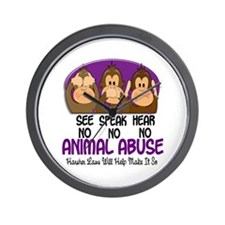 See Speak Hear No Animal Abuse 1 Wall Clock