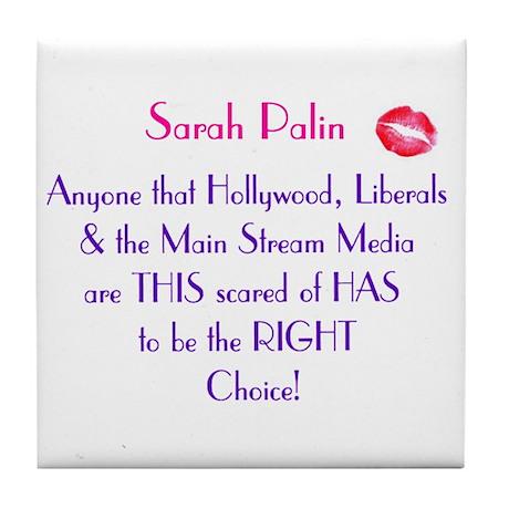 Sarah Palin - MSM Hollywood.. Tile Coaster