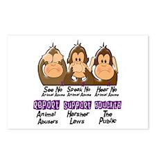 See Speak Hear No Animal Abuse 3 Postcards (Packag