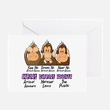 See Speak Hear No Animal Abuse 3 Greeting Card