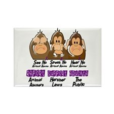 See Speak Hear No Animal Abuse 3 Rectangle Magnet