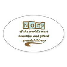 Nona of Gifted Grandchildren Oval Decal