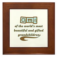 Oma of Gifted Grandchildren Framed Tile