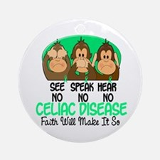 See Speak Hear No Celiac Disease 1 Ornament (Round