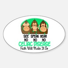 See Speak Hear No Celiac Disease 1 Oval Decal