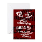 Trick or Treat Rhyme Red Greeting Card