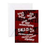 Trick or Treat Rhyme Red Greeting Cards (Pk of 10)