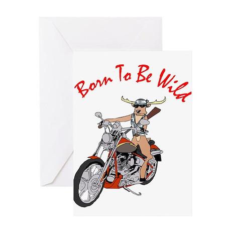 Biker Deer Greeting Card