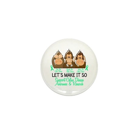 See Speak Hear No Celiac Disease 2 Mini Button