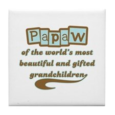 Papaw of Gifted Grandchildren Tile Coaster