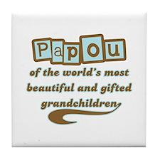 Papou of Gifted Grandchildren Tile Coaster