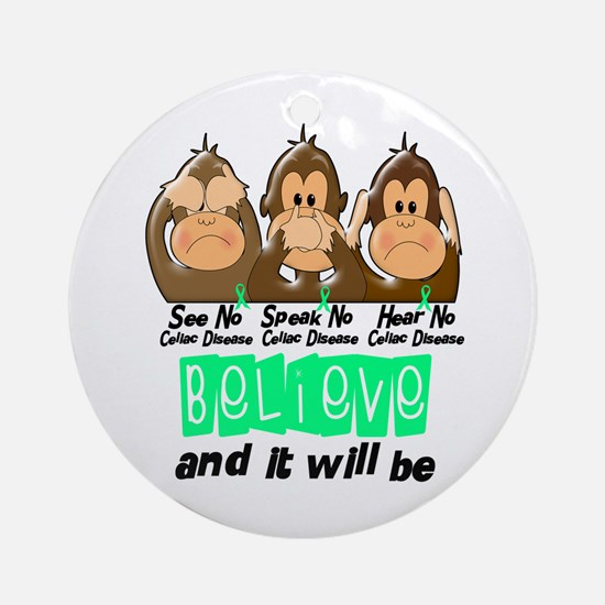 See Speak Hear No Celiac Disease 3 Ornament (Round