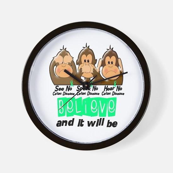 See Speak Hear No Celiac Disease 3 Wall Clock