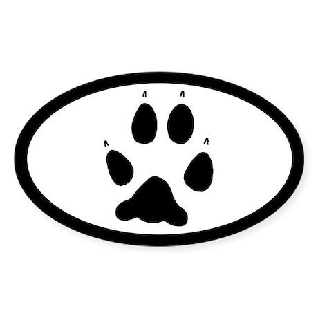 Wolf Track Pawprint Euro Oval Sticker (50 pk)