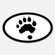 Wolverine Track Pawprint Euro Oval Sticker (10 pk)