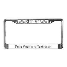 License Plate Frame - BITE ME! design (grey)