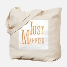 Melon Text Just Married Tote Bag