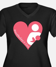 Breastfeeding is Love Women's Plus Size V-Neck Dar