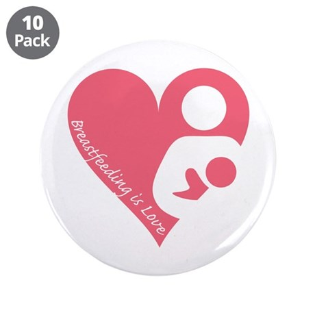 """Breastfeeding is Love 3.5"""" Button (10 pack)"""