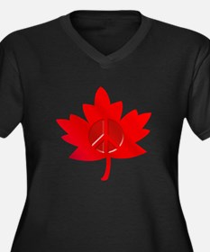 Maple Leaf Peace Sign Women's Plus Size V-Neck Dar