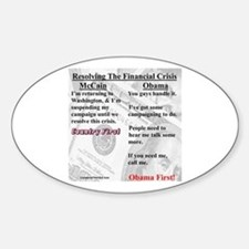 """Financial Crisis"" Oval Decal"