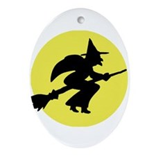Halloween Witch and Broom Keepsake (Oval)