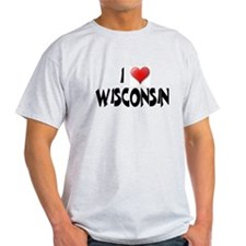 I LOVE WISCONSIN Ash Grey T-Shirt