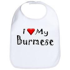 I Love My Burmese Bib