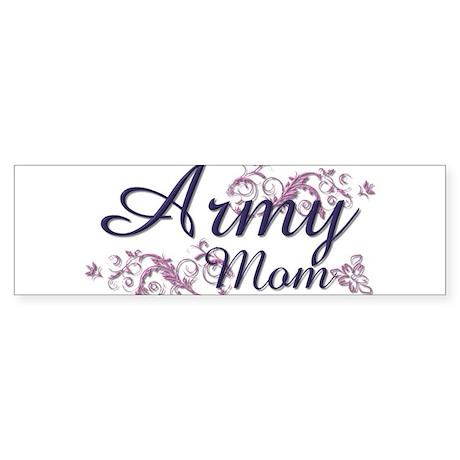 Army Mom - Flower Bumper Sticker