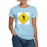 Pedestrian Crosswalk Sign Women's Pink T-Shirt